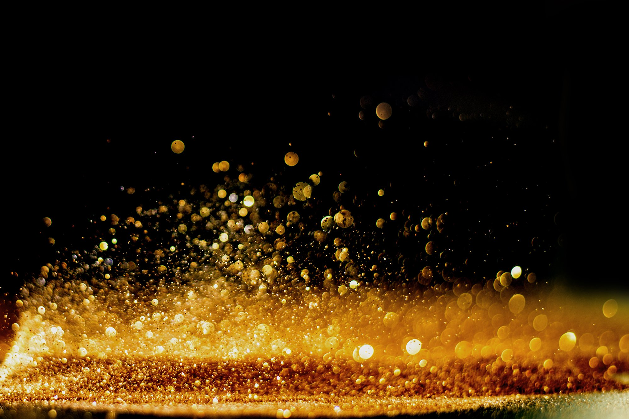 Gold glitter on a surface